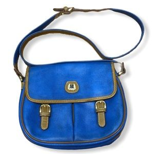 Lancel Vintage Blue And Tan Leather Crossbody